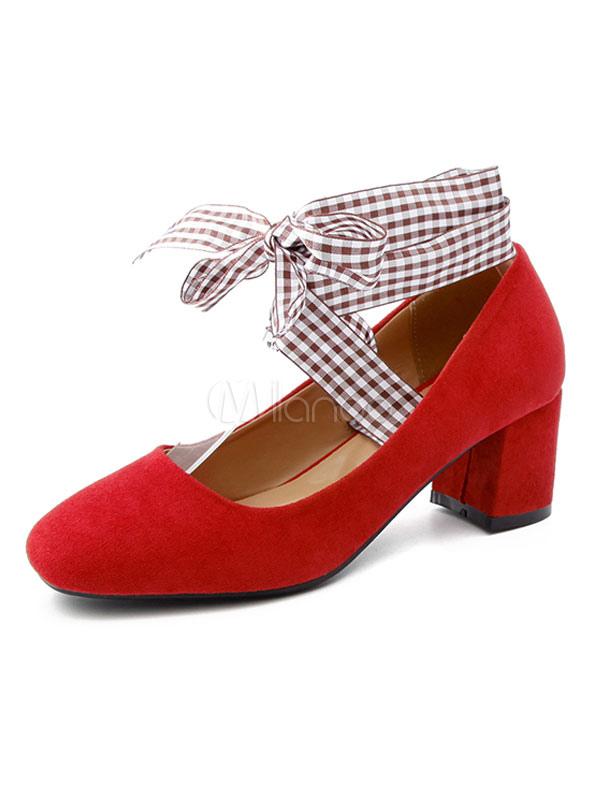46c0be77 Zapatos de Tacón Grueso 2019 Pumps Rojo Nubuck Punta Cuadrada Tela Escocesa  con Encaje Zapatos para ...