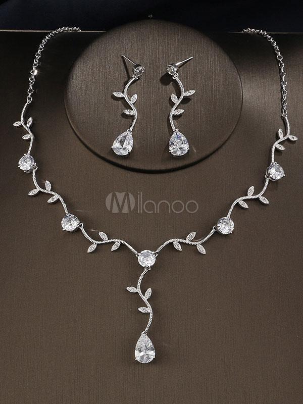905147b09ef57 Silver Wedding Jewelry Leaf Y Necklace Drop Earrings Evening Jewelry Set