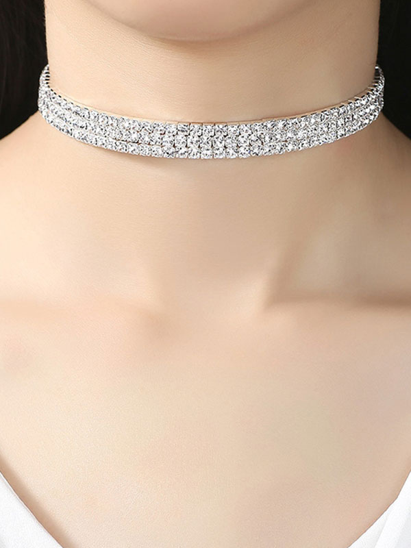 baad4b5472f81 Glitter Choker Necklace Silver Rhinestones Necklace Christmas Party Jewelry