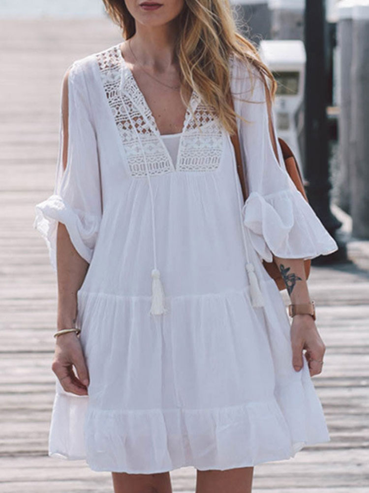 Blanco Vestido De Verano 2019 Con Cuello En V Vestido Veraniego Con Borlas De Encaje Blusa Casual Vestido