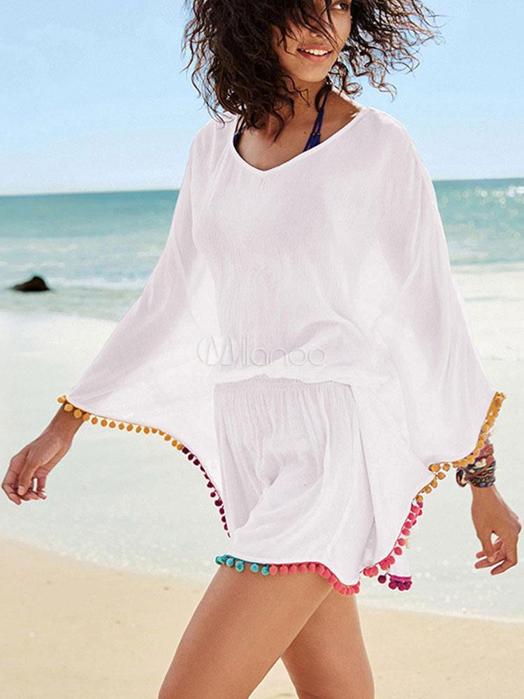 White Cover Up Long Sleeve Pom Poms Casual Beachwear For Women