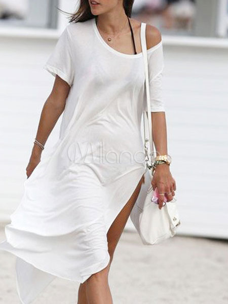 Women Cotton Cover Up Short Sleeve Scoop Neck Split Casual Beachwear