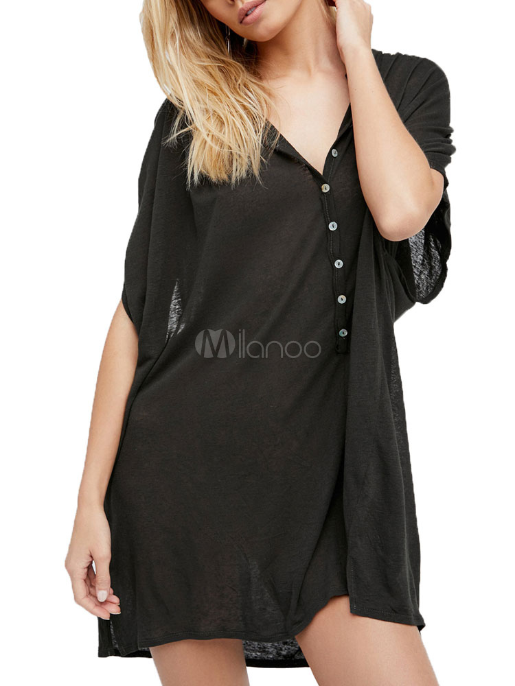 Buy Women Cotton Cover Up V Neck Buttons Short Sleeve Beach Dress for $22.49 in Milanoo store
