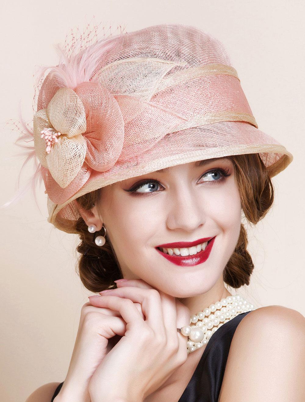 Sombrero Vintage Mujeres Lino Rosa Flores Reales Cloche Sombrero ...