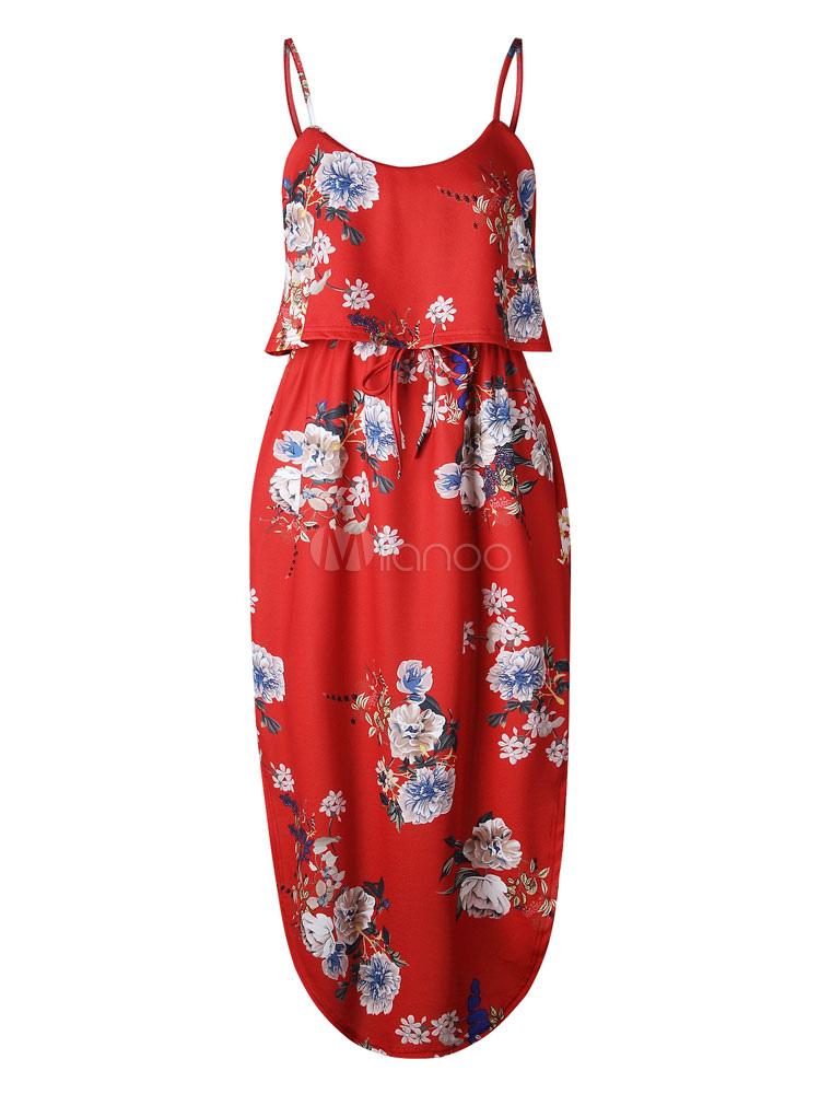 22682a47aa7 Red Long Dress Split Floral Summer Dress Boho Slip Drses - Milanoo.com