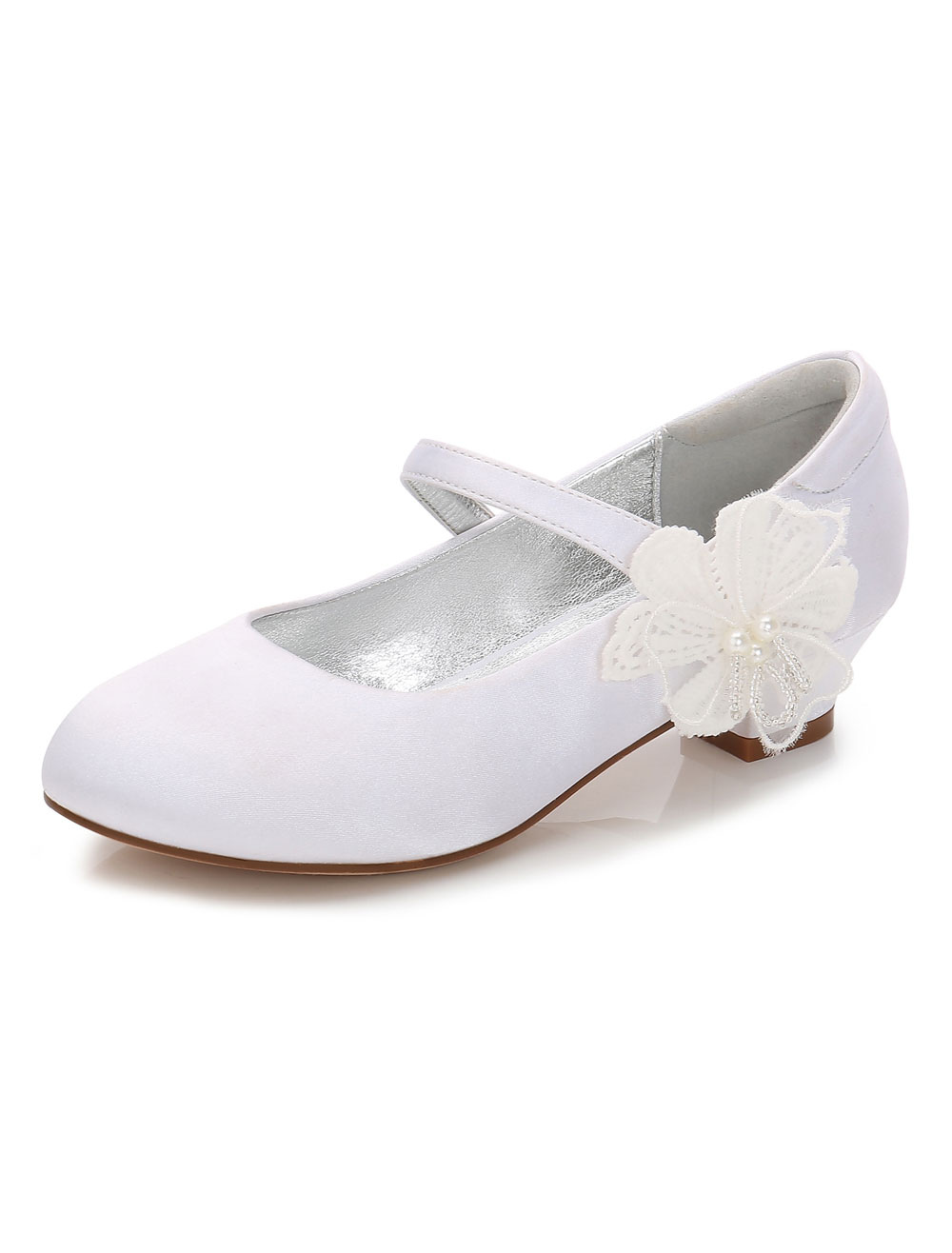 White Flower Girl Shoes Satin Round Toe Flowers Detail Party Shoes