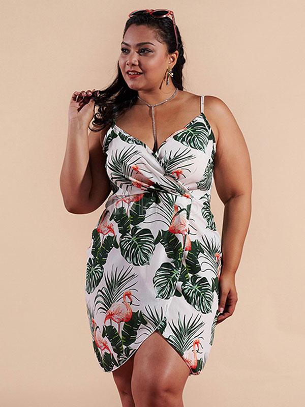 Plus Size Dress Flamingo Leaf Print Straps Tropical Dress - Milanoo.com