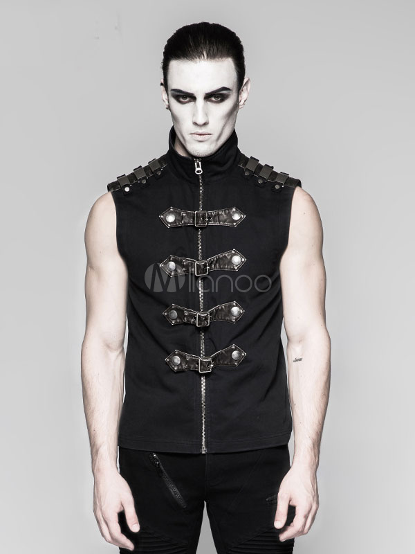 2214b40bd4400 Steampunk Vest Retro Halloween Costume Men Black Gothic Buckled Vintage  Tops-No.1 ...