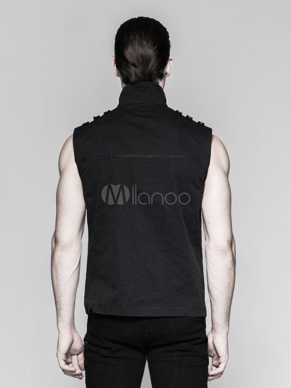 ddfaf78ac48b7 ... Steampunk Vest Retro Halloween Costume Men Black Gothic Buckled Vintage  Tops-No.3 ...
