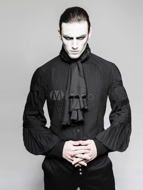 Gothic Costume Halloween Uomo Camicie medievale vittoriano Ruffles  Camicette Top-No.1 ... f8fc0091867f