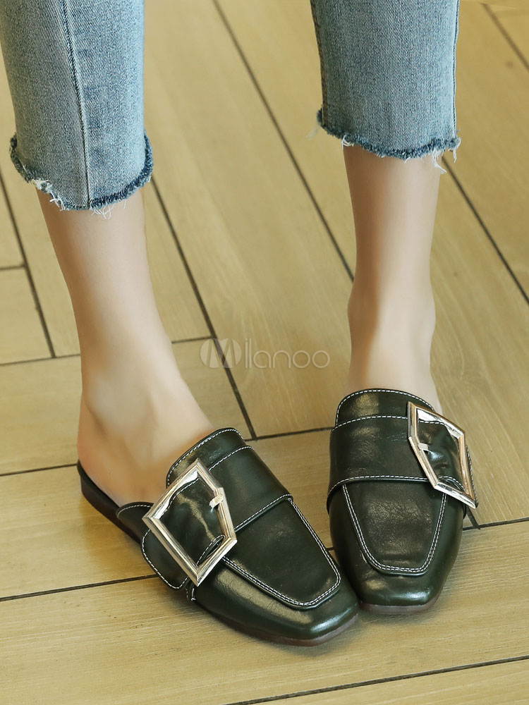 2a9ffae8bf2 ... White Mule Loafers Square Toe Buckle Detail Mule Shoes Women Flat  Slippers-No.6
