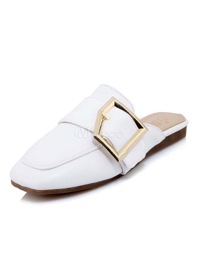 946173aeff2 White Mule Loafers Square Toe Buckle Detail Mule Shoes Women Flat  Slippers-No.1 ...