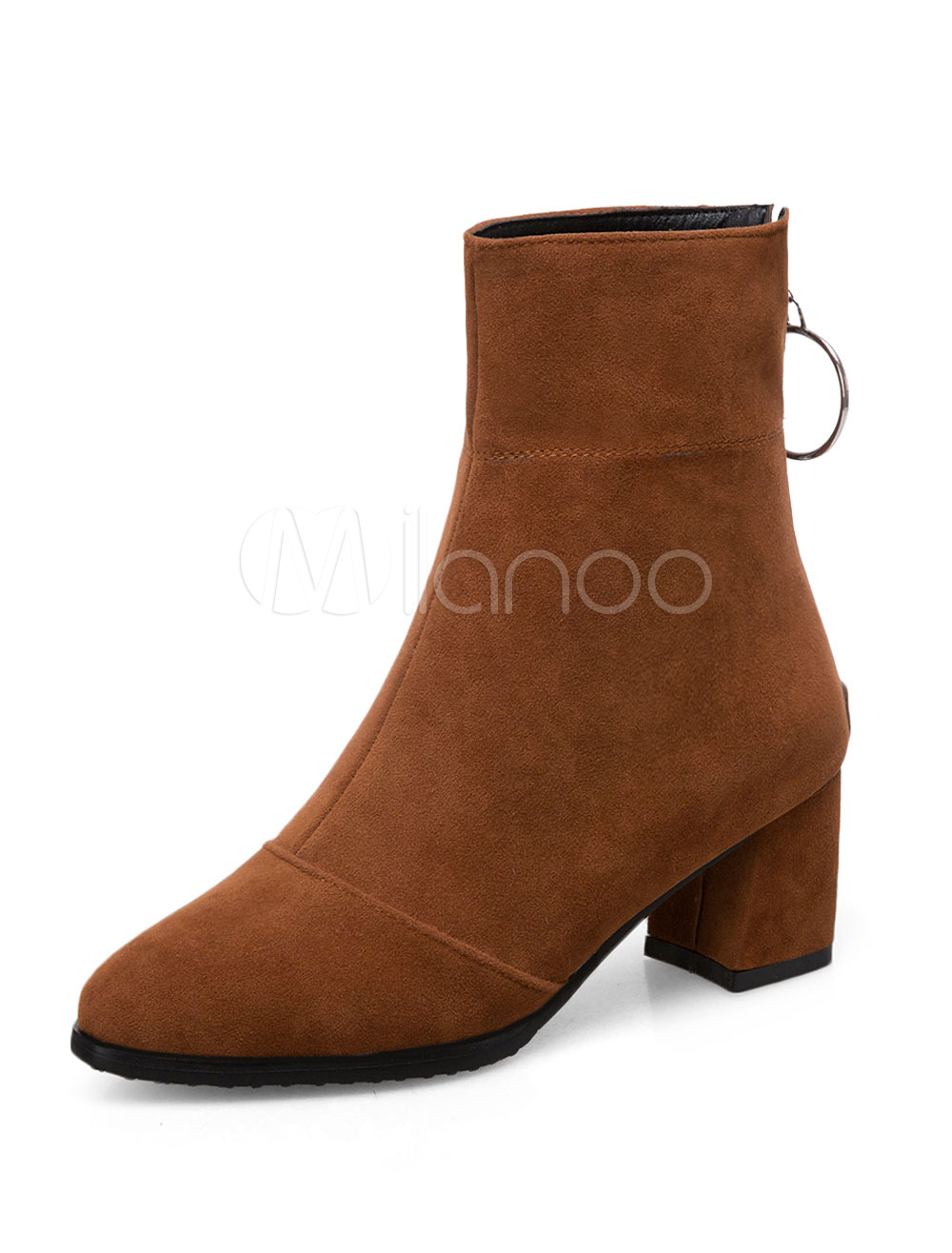 Woemn Corduroy Front Zipper Ankle Boots Block Heel Ladies Pointy Toe Party Shoes