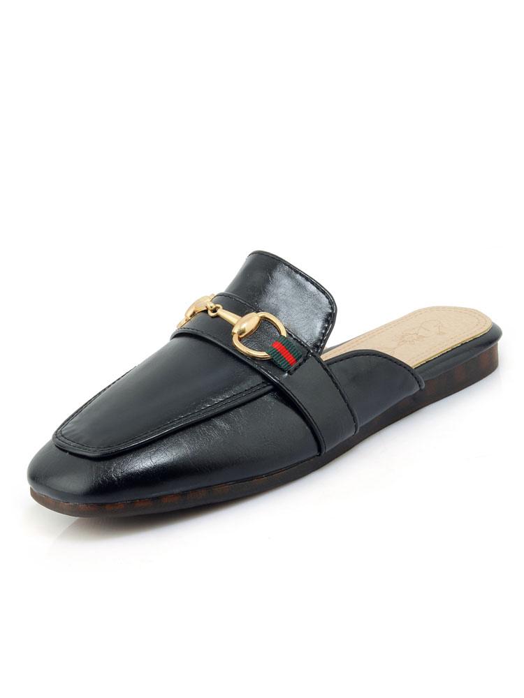 Black Mules Shoes Women Square Toe