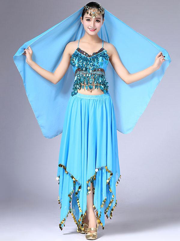 e5a2fd3d4451 Traje de danza del vientre traje de mujer falda de gasa Top y velo Baile de  Bollywood desgaste
