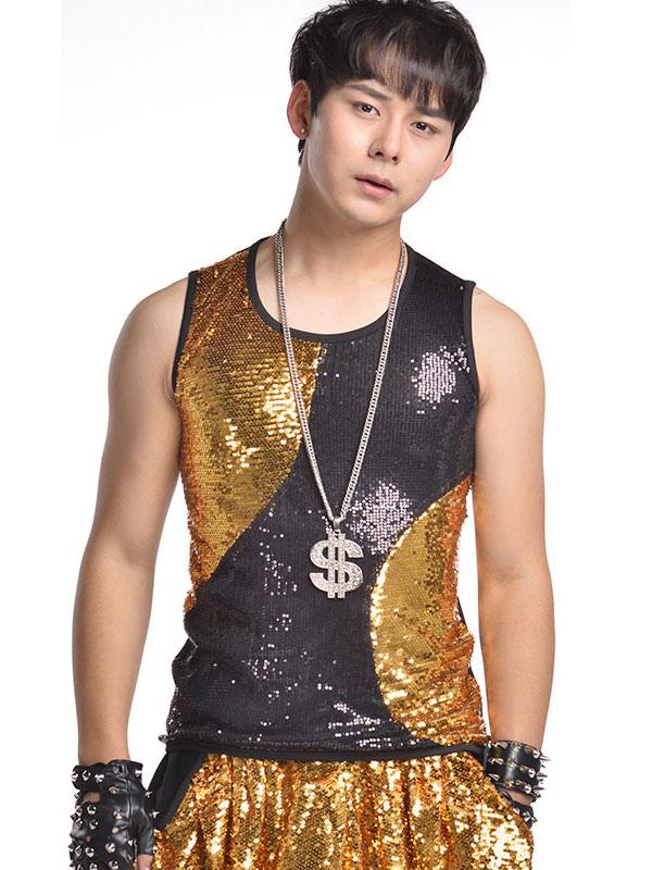 3e0e89e170b5f Jazz Dance Costume Vest Men Sequin Glitter Black Gold Dancing Top-No.1 ...