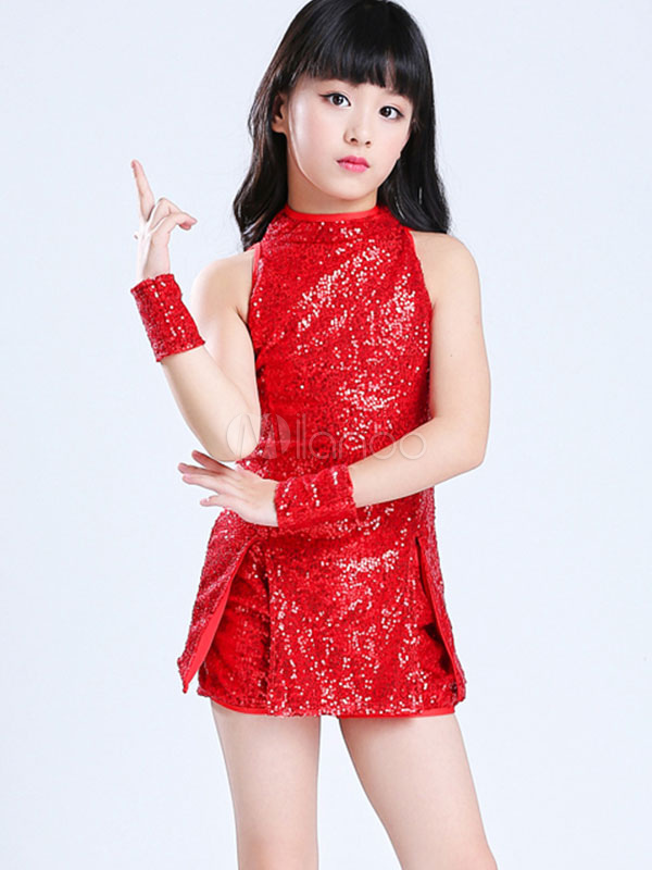808c340f Kids Jazz Dance Costume Red Sequin Glitter Girls Dancing Top And Shorts  Outfit-No.
