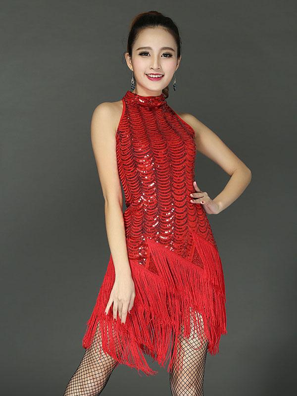 separation shoes ae59a afc10 Costume da ballo latino Abiti rossi da donna con paillettes senza maniche e  nappe da ballo
