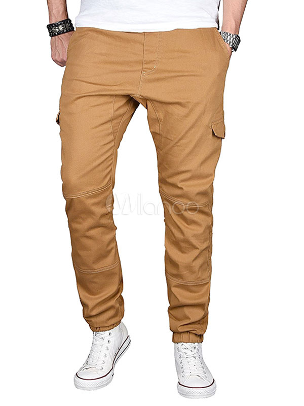 Buy Tapered Track Pant Pocket Seam Patchwork Men Casual Pant for $23.99 in Milanoo store
