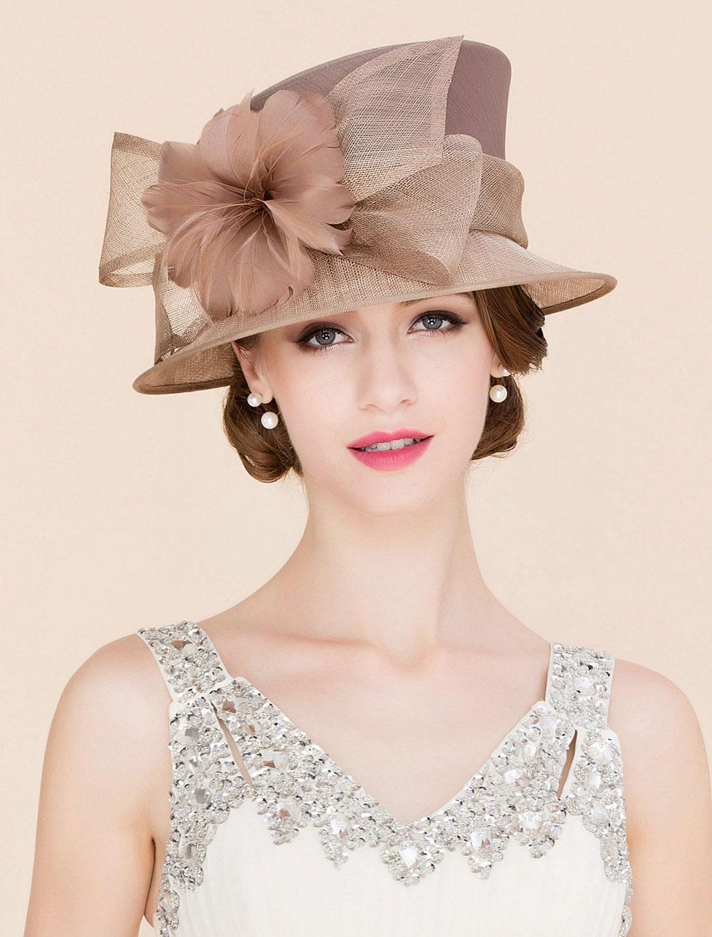 Royal Vintage Hat Marrón Mujeres Flores Tocados Retro Top Hat