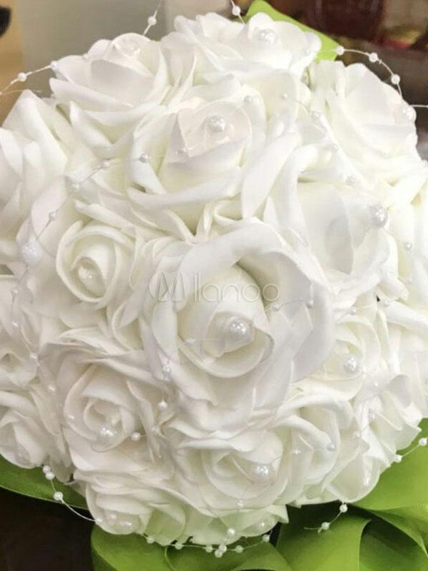 Bouquet Sposa Bianco.White Wedding Bouquets Silk Flowers Ribbon Pearls Bridal Bouquet