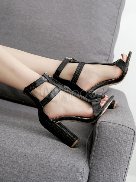 Buy High Heel Sandals Block Heel Sandals Black Open Toe T Type Zipper Detail Ankle Strap Sandals for $35.09 in Milanoo store