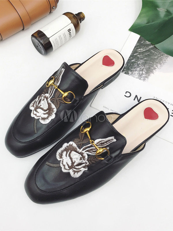 Buy Black Mule Loafers Women Round Toe Floral Embroidered Metal Detail Backless Mule Shoes for $33.29 in Milanoo store