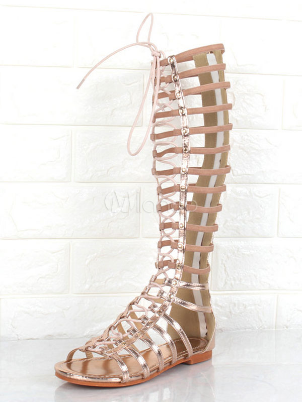 Buy Women Gladiator Sandals Gold Open Toe Wide Calf Flat Sandal Shoes for $46.79 in Milanoo store