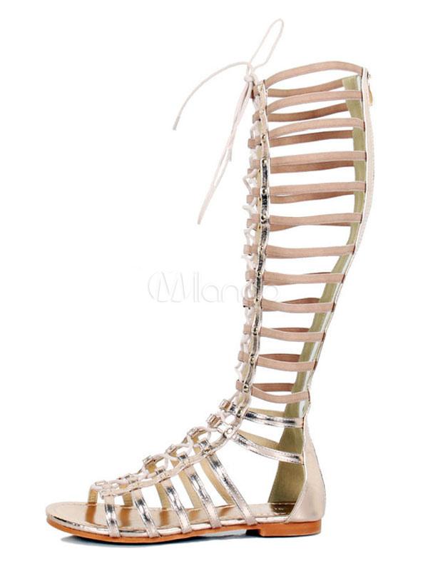ae52d7e3e34e ... Women Gladiator Sandals Gold Open Toe Wide Calf Flat Sandal Shoes-No.4  ...