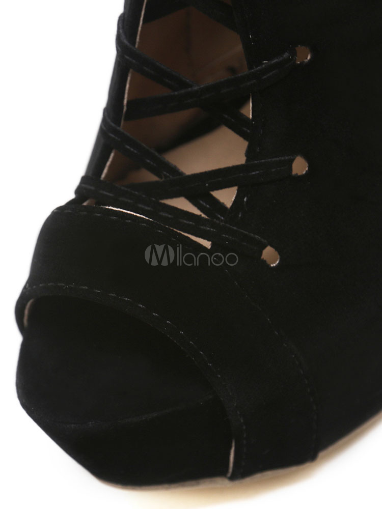 849ba7e08529e2 ... Black Over Knee Boots Nubuck Platform Peep Toe Lace Up High Heel Boots  Women Thigh High ...