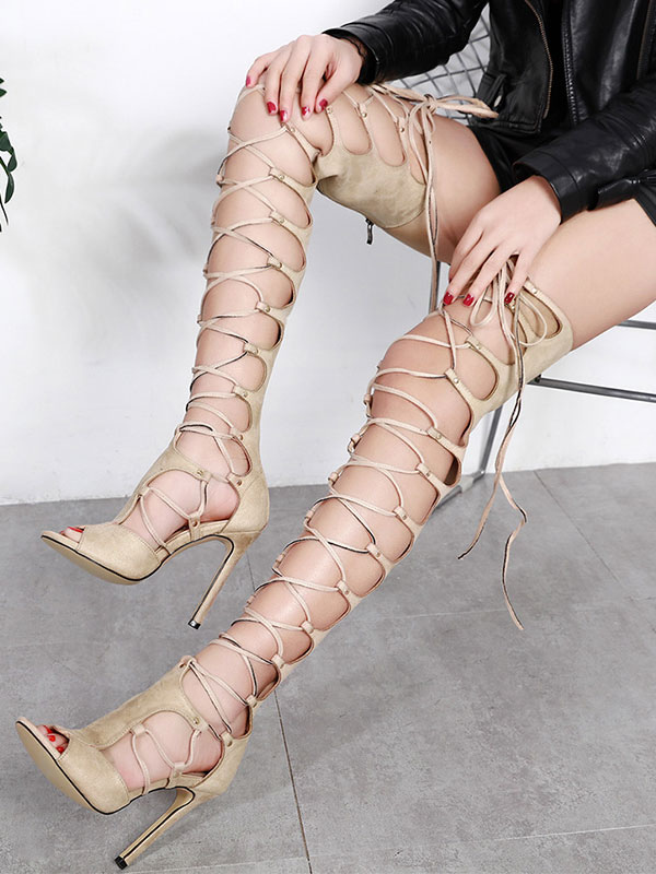Buy Women Gladiator Sandals Apricot Open Toe Stiletto Heel Lace Up Sandal Shoes Nubuck High Heel Sandals for $55.79 in Milanoo store