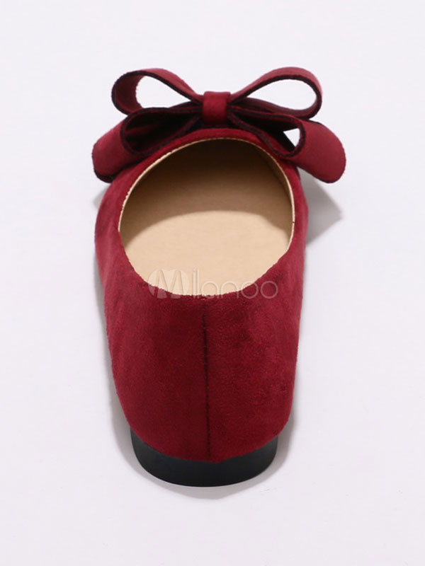 9254b069bda Suede Ballet Flats Burgundy Pointed Toe Bow Slip On Flat Pumps For Women-No.