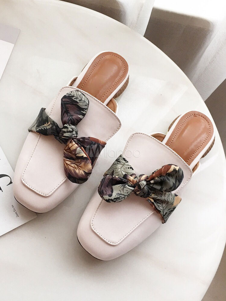 Buy Women Mule Loafers White Square Toe Bow Backless Mule Shoes for $31.49 in Milanoo store