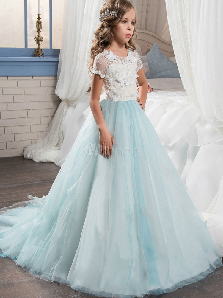 b7b2d8b14 Flower Girl Dresses Mint Green Short Sleeve Lace Tulle A Line Girls Pageant  Dress With Train ...