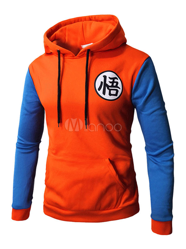 Buy Men Casual Hoodie Letter Print Color Block Drawstring Hooded Long Sleeve Pullover Sweatshirt for $19.19 in Milanoo store