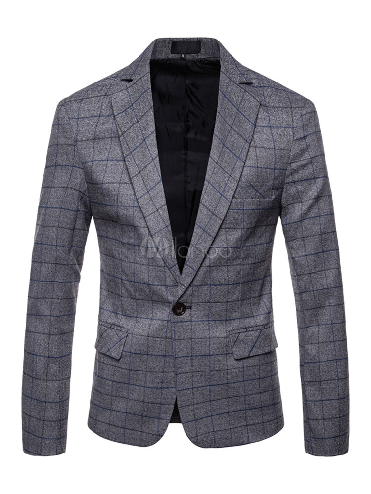 Buy Men Casual Blazer Plus Size Plaid Suit Jacket One Button Long Sleeve Blazer Jacket for $42.49 in Milanoo store
