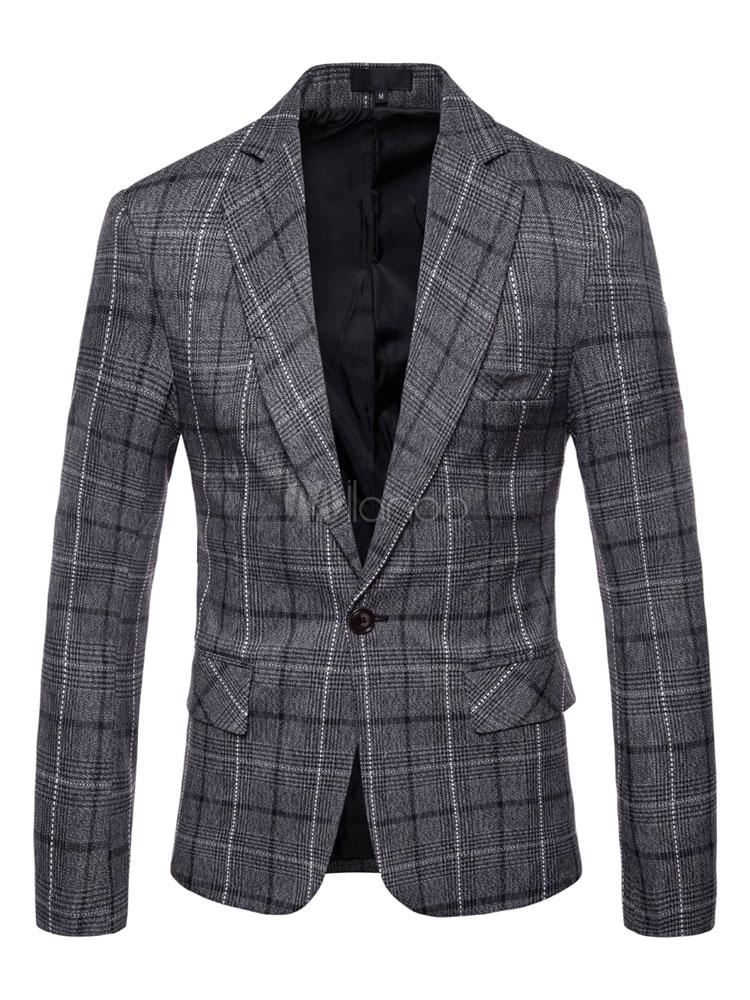 Buy Grey Casual Blazer Notch Collar Plaid Suit Jacket Plus Size Cotton Blazer For Men for $42.49 in Milanoo store