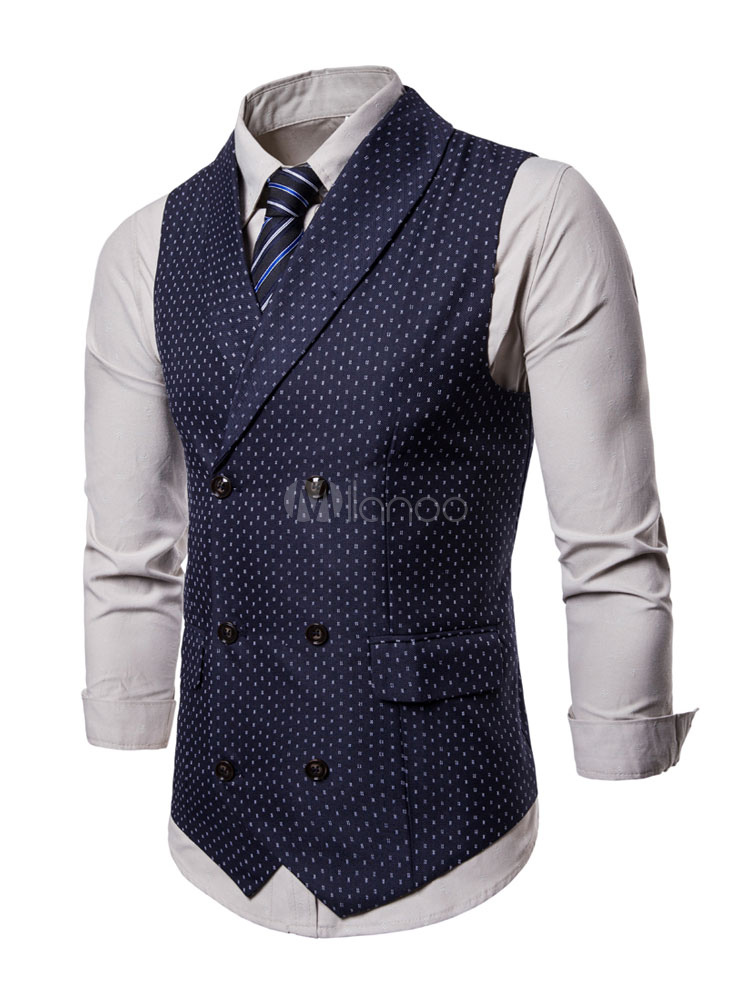 Men Suit Vest 1950s Double Breasted Shawl Lapel Print Plus