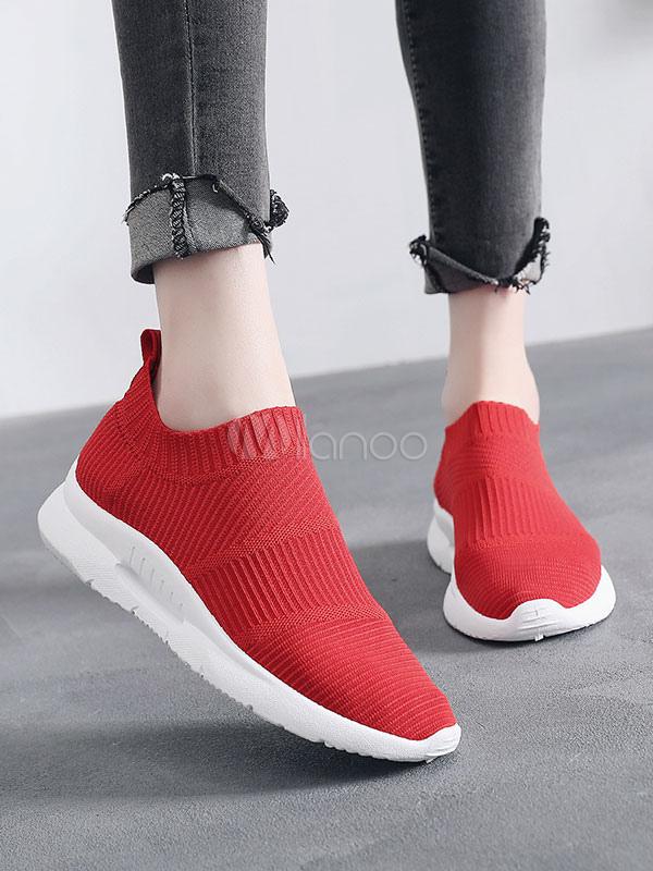 aspetto dettagliato 71f01 ff8ce Scarpe sportive da donna Scarpe da ginnastica rosse con punta arrotondata