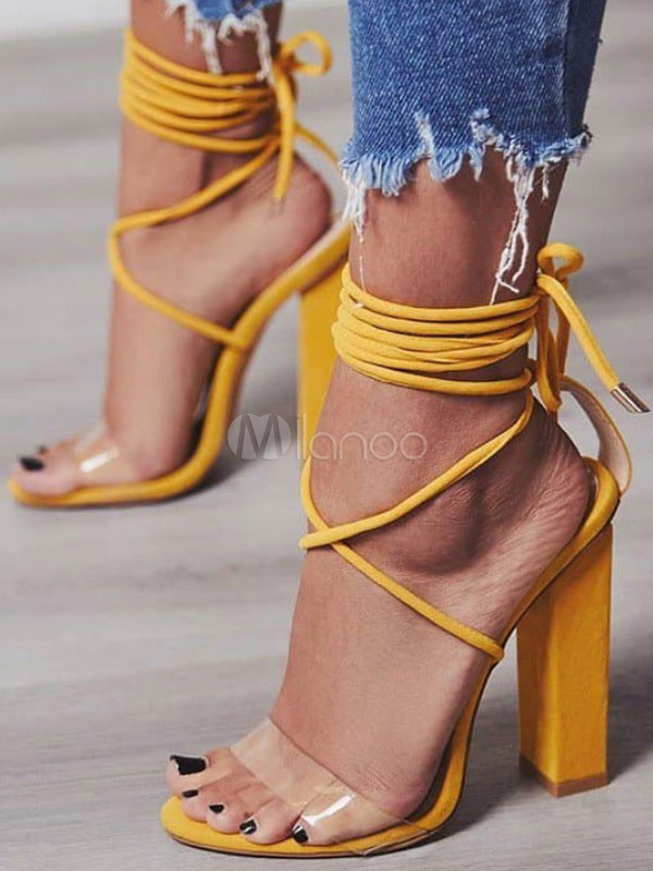 1fa561462702 Block Heel Sandals Suede Open Toe Lace Up Sandal Shoes Women Gladiator  Sandals-No.