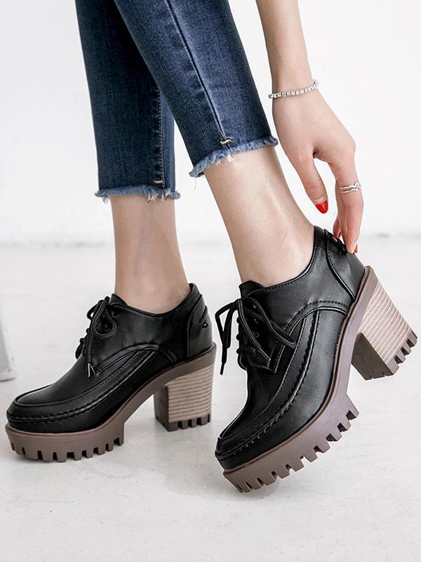 Black Oxford Shoes Women Round Toe