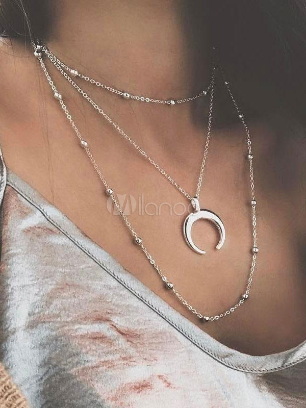 Buy Silver Layered Necklace Moon Bead Chain Pendant Necklace Women Jewelry for $1.99 in Milanoo store