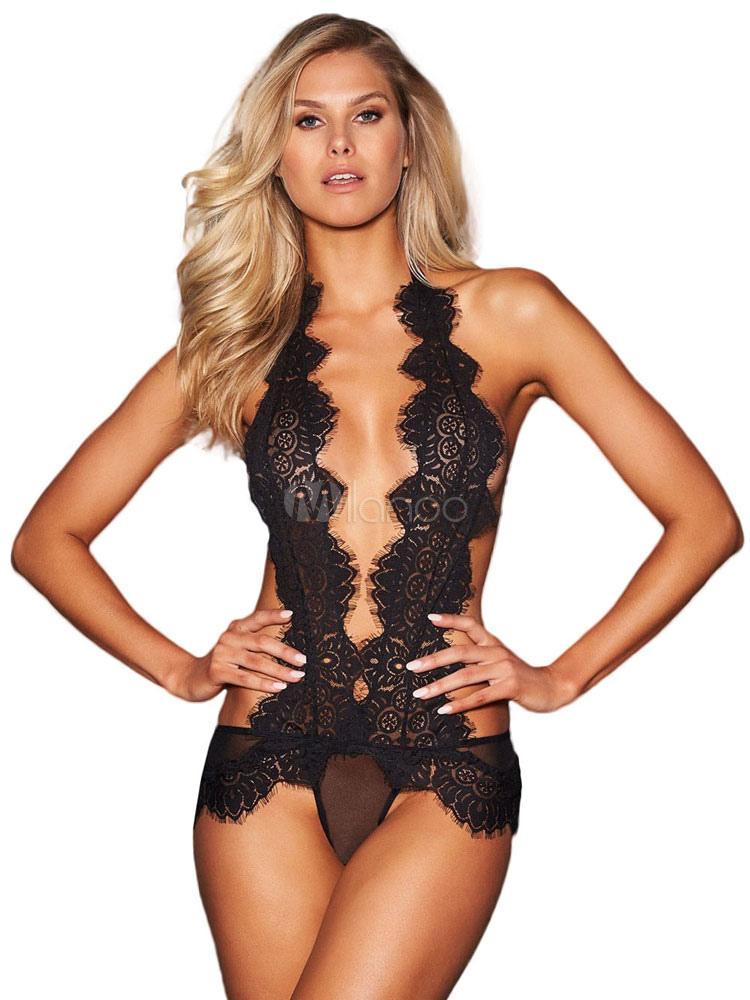 Lingerie sexy dos nu en dentelle de nounours noir pour les femmes-No.1 ... a4f5a79e743