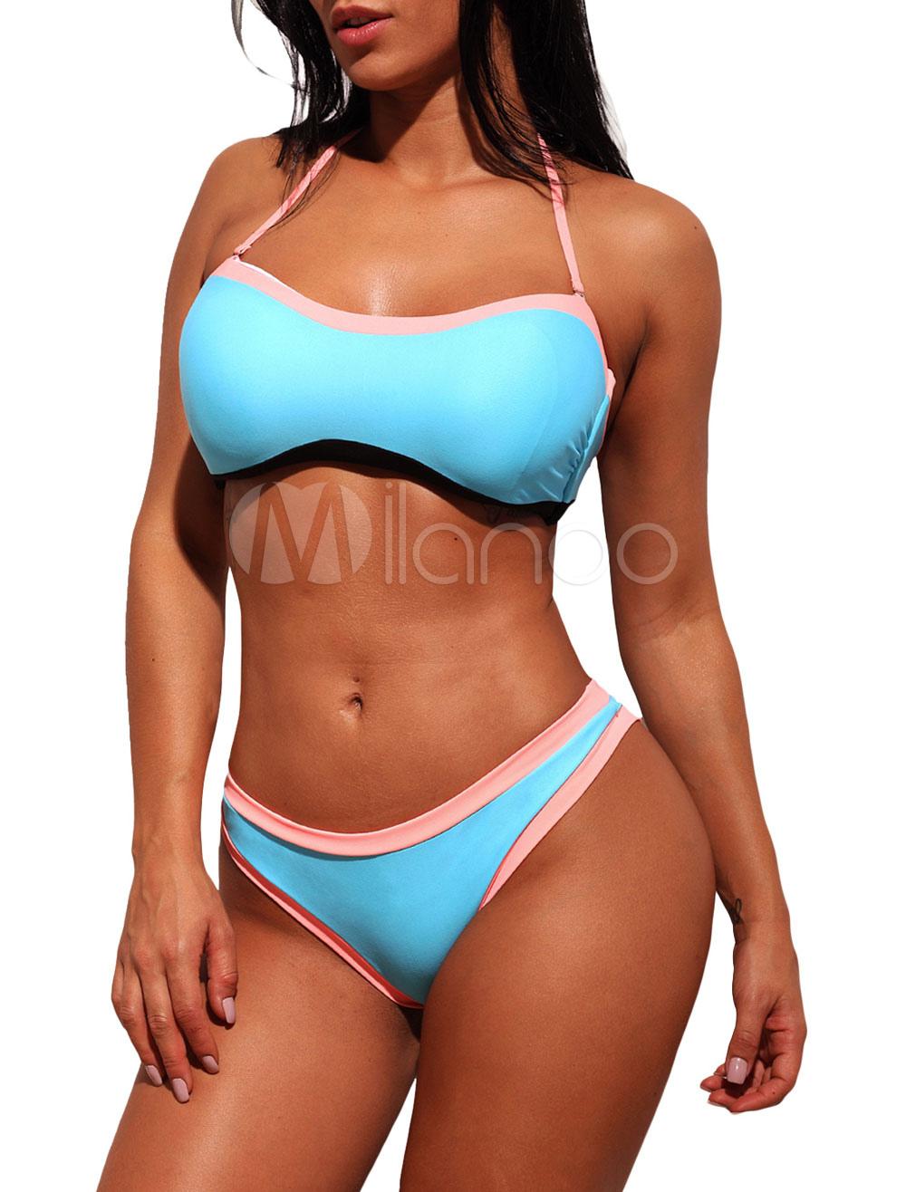 00c664c1ad7 Sexy Bikini Swimsuit Halter Two Tone String Bikini Beach Bathing Suit