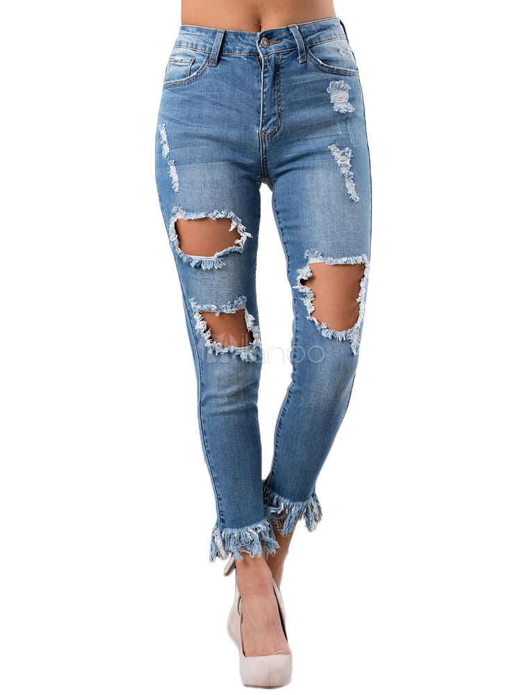 d8803e6d8f Pantalones de mezclilla desgastados con cintura alta de Blue Ripped Jeans  Women-No.1 ...