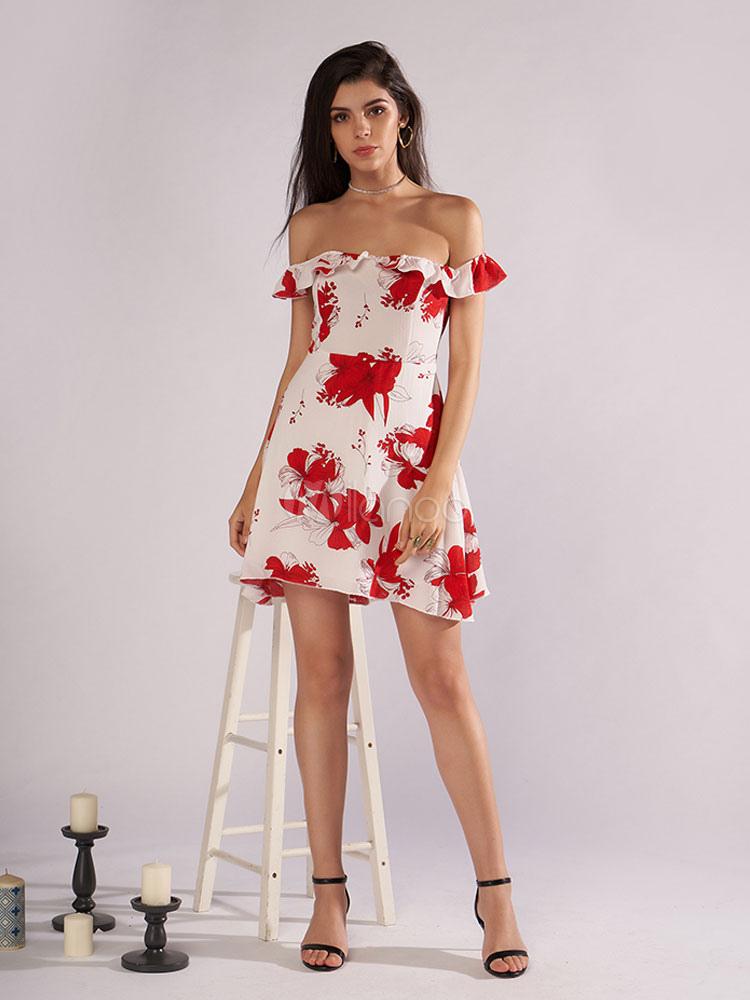 ... Floral Skater Dress Women Off Shoulder Ruffle Cut Out Short Summer Dress-No.4  ... 00ba53509