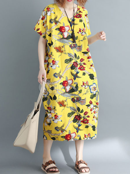 Buy Oversized Shift Dress Floral Maxi Dress V Neck Short Sleeve Yellow Summer Dress for $24.29 in Milanoo store