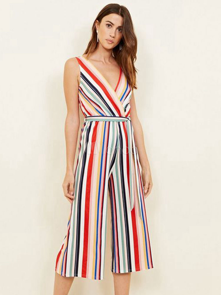 Buy Wide Leg Jumpsuit Rainbow Stripe V Neck Sleeveless Cropped One Piece Jumpsuit for $20.69 in Milanoo store