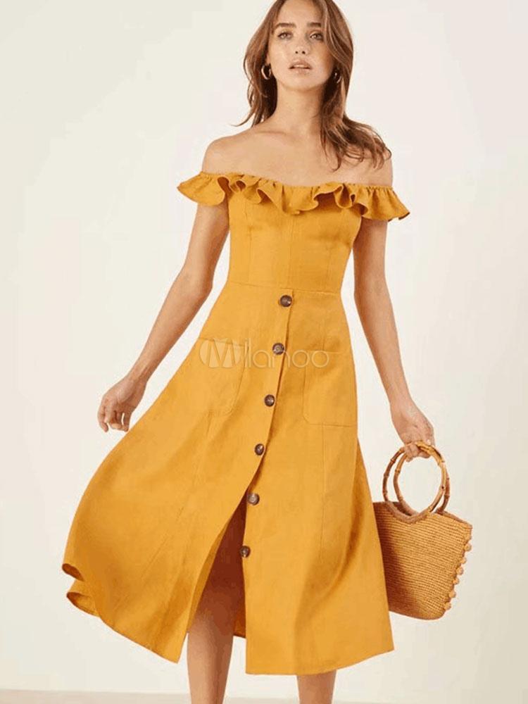 7f35cfdeac0 Yellow Summer Dress Pockets Off Shoulder Frill Button Up Women Dress-No.1  ...