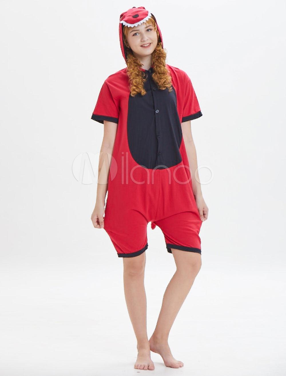 503ad4ff5d4 Dinosaur Kigurumi Onesie Pajamas Adult Red Short Jumpsuits Hooded Unisex  Animal Sleepwear Halloween